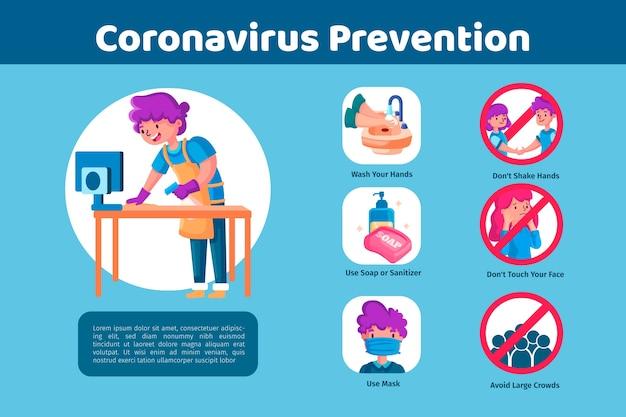 Coronavirus-prävention infografiken vorlage thema Kostenlosen Vektoren