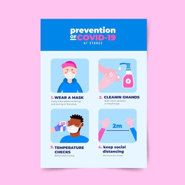 Coronavirus-präventionsplakat für das design von geschäften Kostenlosen Vektoren