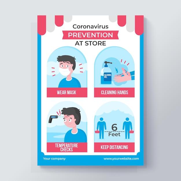Coronavirus-präventionsplakat für geschäfte Premium Vektoren