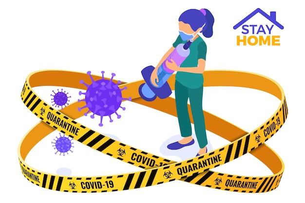 Coronavirus quarantäne bleiben zu hause krankenschwester in maske mit spritze und impfstoff stop coronavirus. quarantäne vor ausbruch der pandemie. isometrische darstellung Premium Vektoren