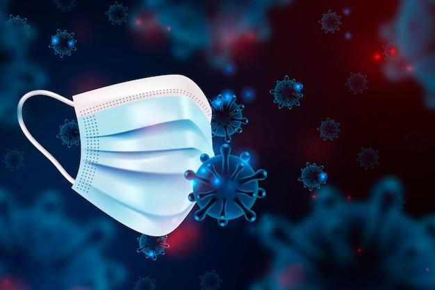 Coronavirus-schutzhintergrund mit gesichtsmaske Kostenlosen Vektoren