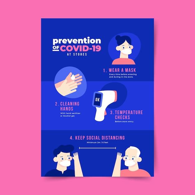 Coronavirus-verhinderungsplakat für geschäftsvorlage Kostenlosen Vektoren