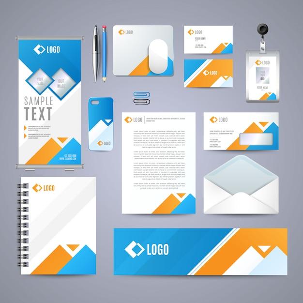 Corporate blue identity design Premium Vektoren