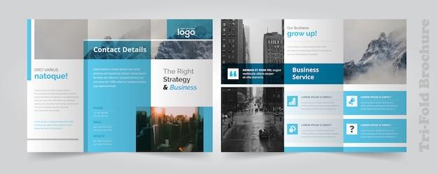 Corporate blue trifold-broschüre Premium Vektoren