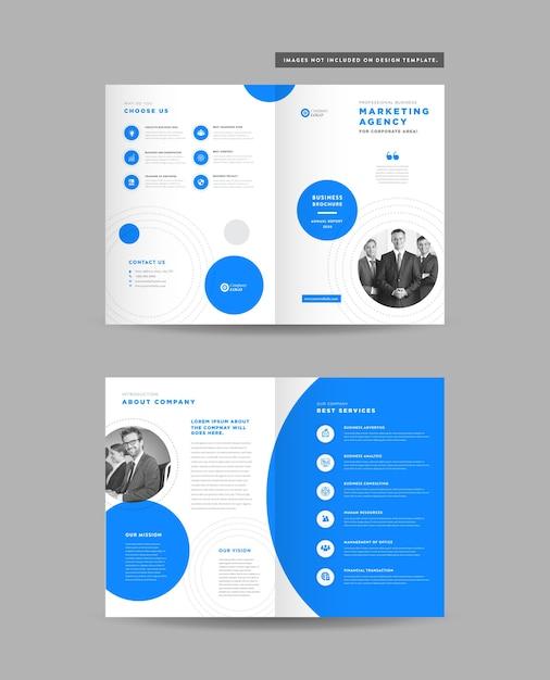 Corporate business bi-fold-broschürendesign Premium Vektoren