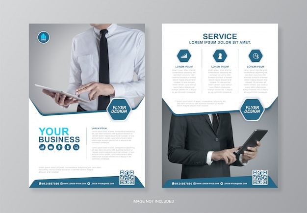 Corporate business cover und back flyer design-vorlage Premium Vektoren