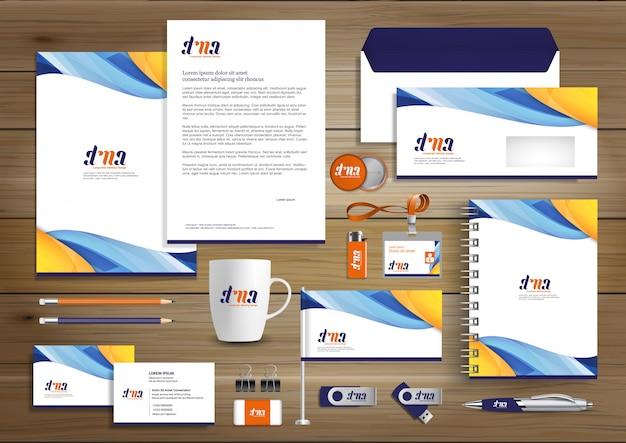 Corporate business identity template-design Premium Vektoren