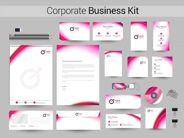 Corporate business kit mit rosa wellen. Premium Vektoren