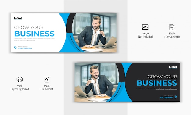Corporate business marketing social media post facebook deckblatt timeline web ad banner vorlage Premium Vektoren
