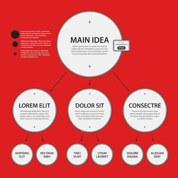 Corporate design vorlage auf rotem hintergrund. schwarz-weiß-farben. nützlich für werbung, präsentationen und webdesign. Premium Vektoren