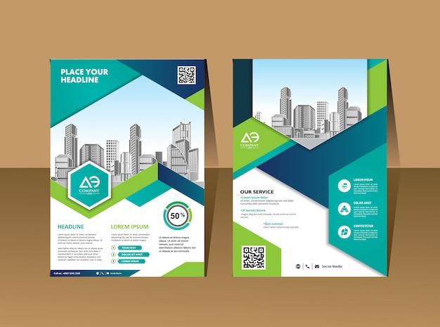 Corporate flyer layoutvorlage mit elementen und platzhalter für bild Premium Vektoren