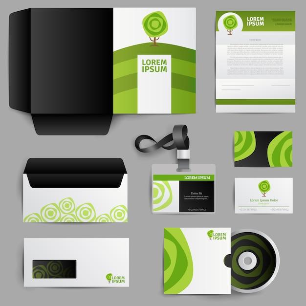 Corporate identity eco design mit grünem baum Kostenlosen Vektoren