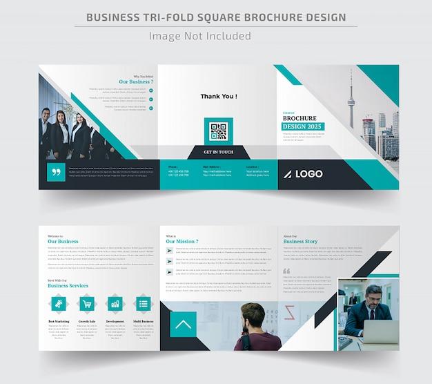 Corporate square trifold broschüren vorlage Premium Vektoren