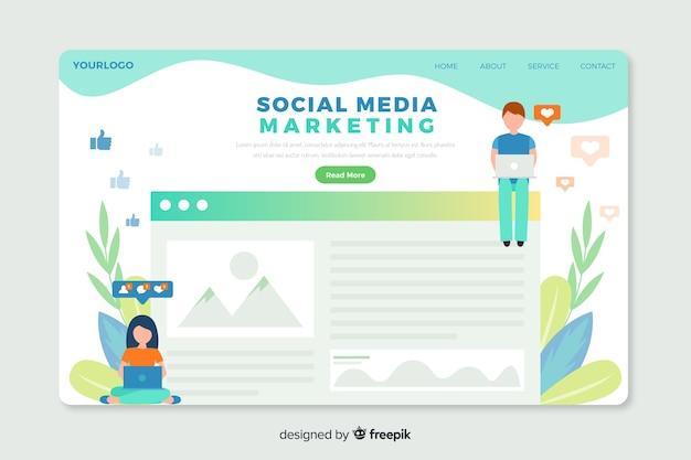 Corporative landing page web template für social media marketing agenturen Kostenlosen Vektoren