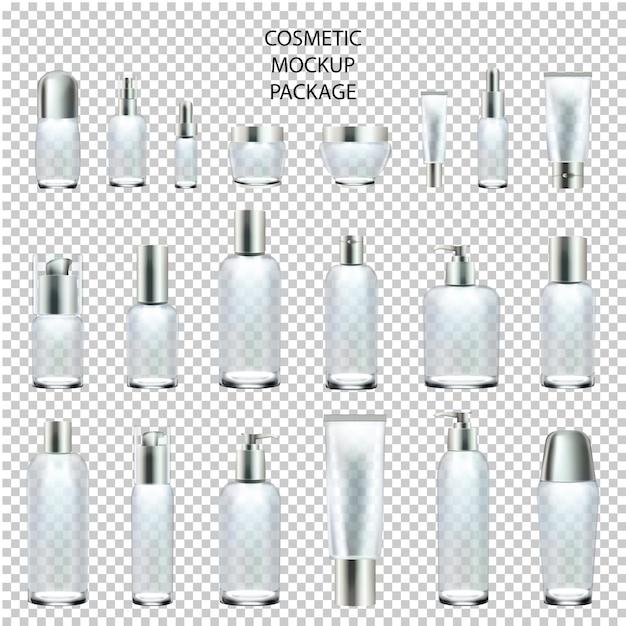 Cosmetic mockup set paket-glas-unterschiedliche größe. Premium Vektoren