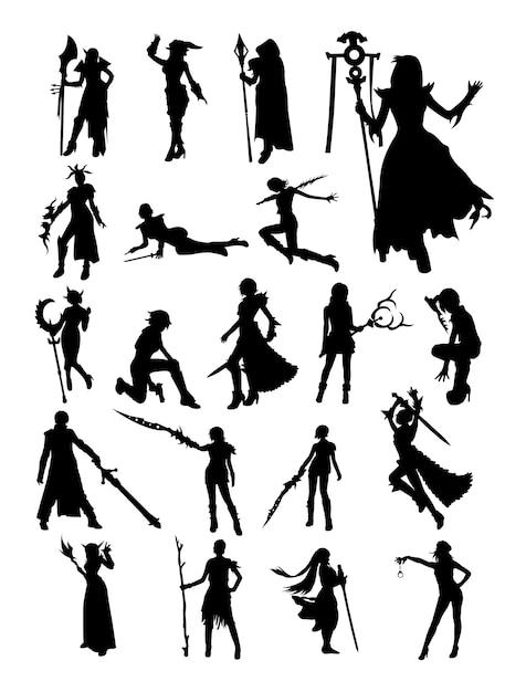 Cosplay silhouette Premium Vektoren