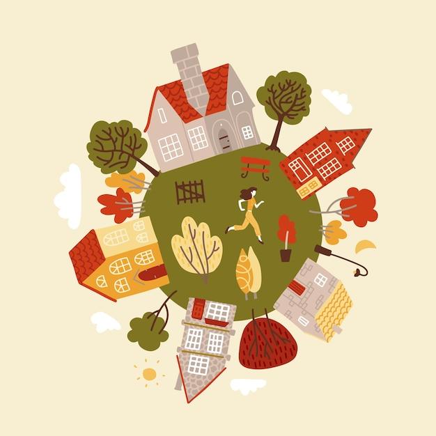 Cote runder planet mit grünen bäumen, gemütlichen kleinen häusern und charakter. Premium Vektoren