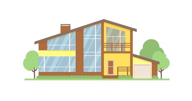 Cottage hausfassade Premium Vektoren