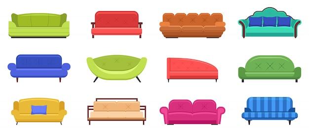 Couchmöbel. bequeme sofas, wohnungsinnencouchmöbel, moderne haushaltscouchillustrationsikonen eingestellt. möbelsofa für wohnzimmer interieur, lounge innencouch Premium Vektoren