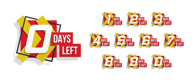 Countdown 1 bis 10, tage übrig etikett oder emblem kann für werbung, verkauf, landing page, vorlage, benutzeroberfläche, web, mobile app, poster, banner, flyer verwendet werden. anzahl der verbleibenden countdowns. vektorillustration Premium Vektoren