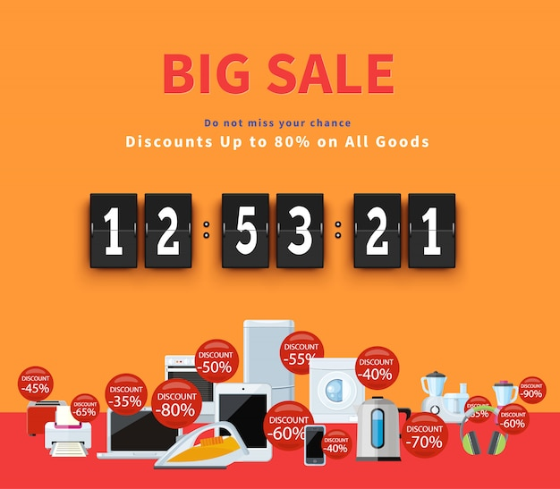 Countdown big discounts banner Premium Vektoren