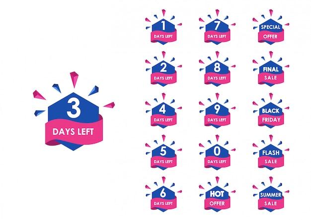 Countdown für verbleibende tage Premium Vektoren