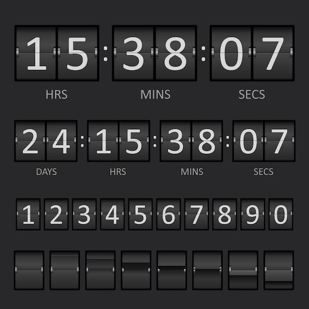 Countdown-timer und anzeigetafelnummern Kostenlosen Vektoren