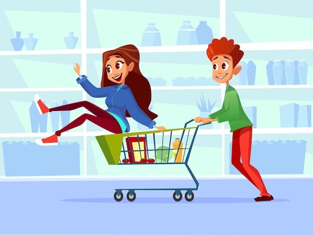 Couple reiten supermarkt einkaufswagen. Kostenlosen Vektoren
