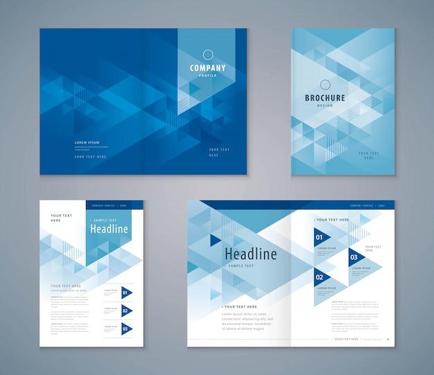 Cover-buch-design-set, dreieck hintergrundvorlagen broschüren Premium Vektoren