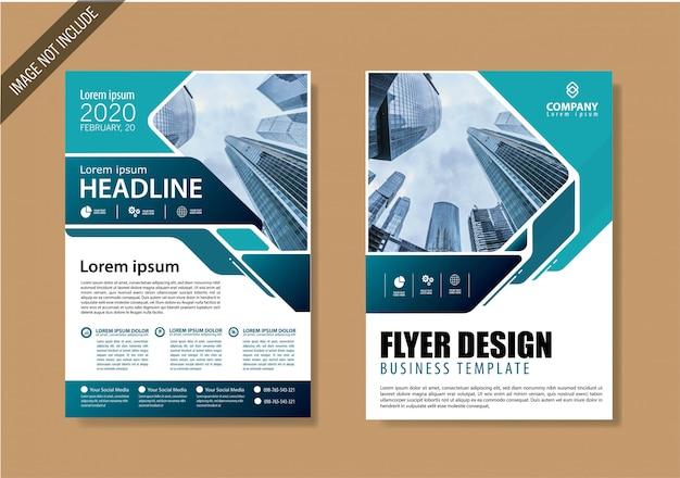 Cover flyer und broschürengeschäftsvorlage für den jahresbericht Premium Vektoren