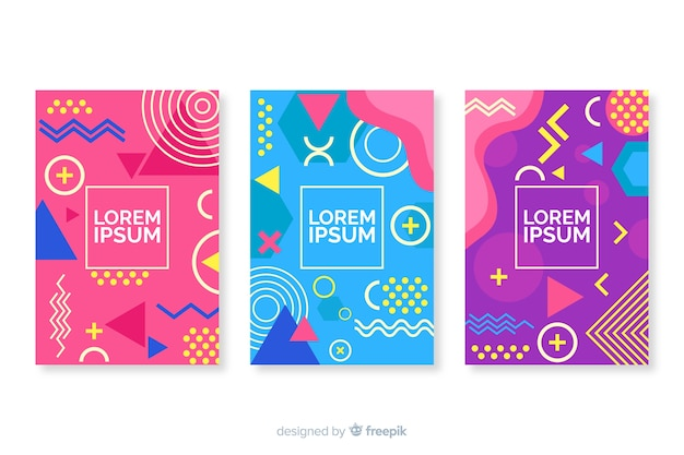 Cover-kollektion im memphis-stil Kostenlosen Vektoren