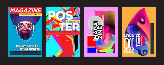 Cover- und poster-designvorlage für das magazin Premium Vektoren