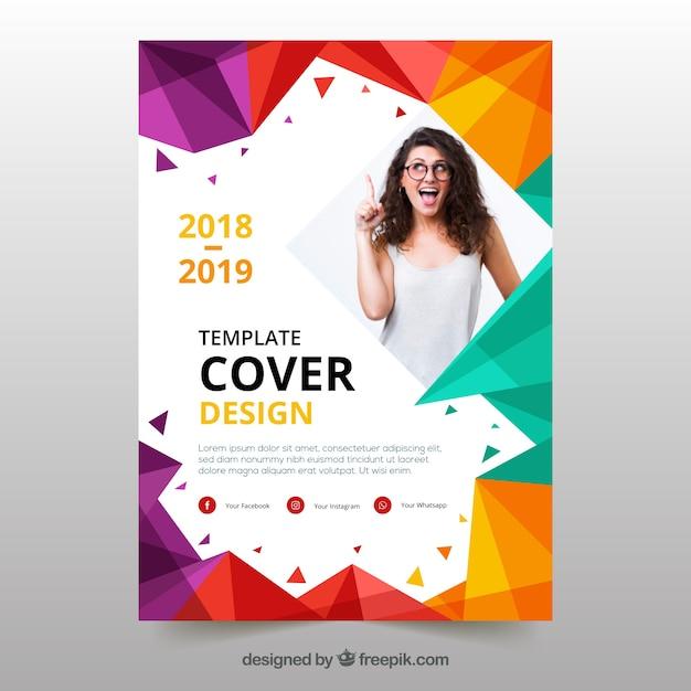 Cover vorlage mit geometrischem design und foto Kostenlosen Vektoren