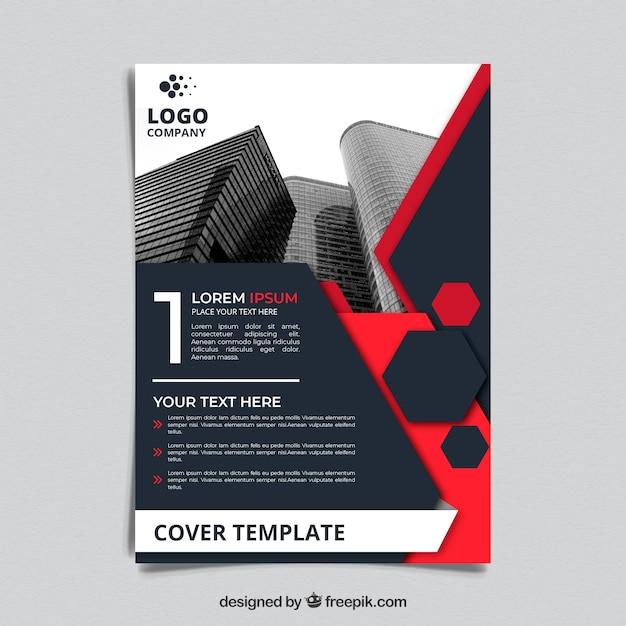 Cover-Vorlage mit polygonalen Stil und Gebäuden Kostenlose Vektoren