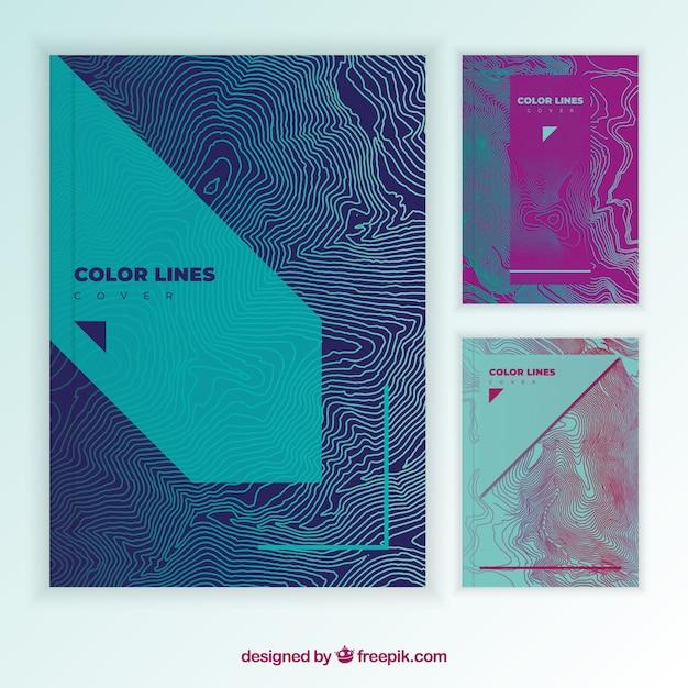 Cover Vorlage Sammlung mit bunten Linien Kostenlose Vektoren