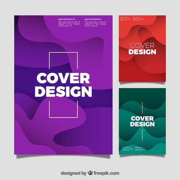 Cover vorlage sammlung mit organischen formen Kostenlosen Vektoren