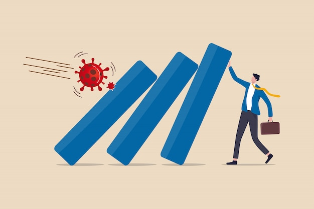 Covid-19 coronavirus ausbruch finanzkrise helfen politik, unternehmen und unternehmen, das konzept zu überleben, geschäftsmann führer helfen, balkendiagramm zu drücken, das im wirtschaftlichen zusammenbruch von covid-19 virus pathogen fällt Premium Vektoren