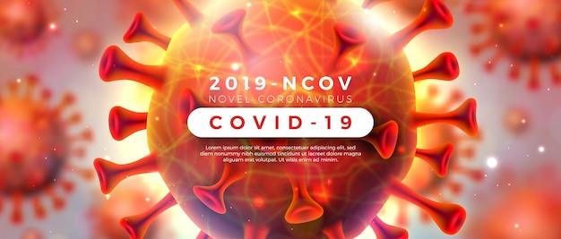 Covid-19. coronavirus-ausbruchsdesign mit viruszelle in mikroskopischer ansicht auf glänzendem hellem hintergrund. 2019-ncov corona virus illustration zum thema gefährliche sars-epidemie für werbebanner. Kostenlosen Vektoren
