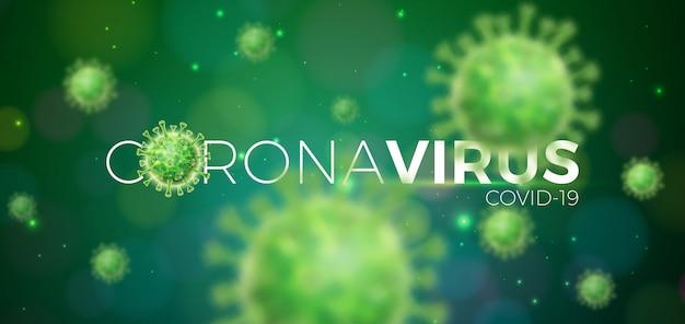 Covid-19. coronavirus-ausbruchsdesign mit viruszelle in mikroskopischer ansicht Kostenlosen Vektoren