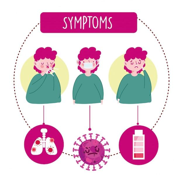 Covid 19 coronavirus infografik, charakter mit husten medizinische maske und laufende nase symptome illustration Premium Vektoren