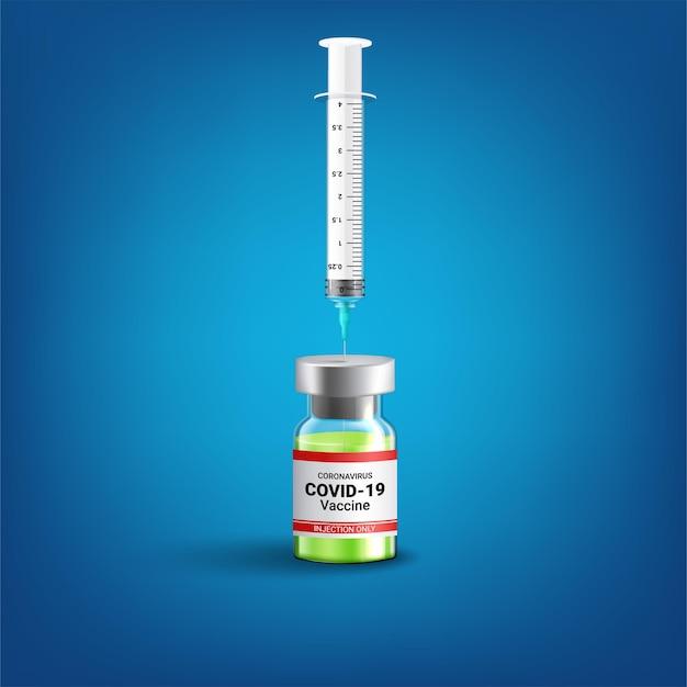Covid-19 coronavirus-konzept. impfstoffflasche und spritze Kostenlosen Vektoren