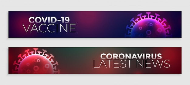Covid-19 coronavirus neuesten impfstoff nachrichten banner design Kostenlosen Vektoren