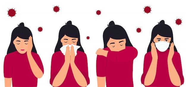 Covid-19. coronavirus-prävention und symptome. kopfschmerzen. das mädchen setzt eine schutzmaske auf, niest am ellbogen und trägt eine serviette. Premium Vektoren