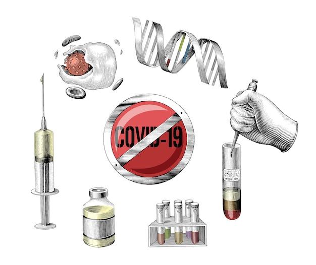 Covid-19 entwicklung impfstoff hand zeichnen gravur stil clipart auf weiß Kostenlosen Vektoren