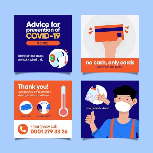 Covid-19-präventions-instagram-geschichten Kostenlosen Vektoren