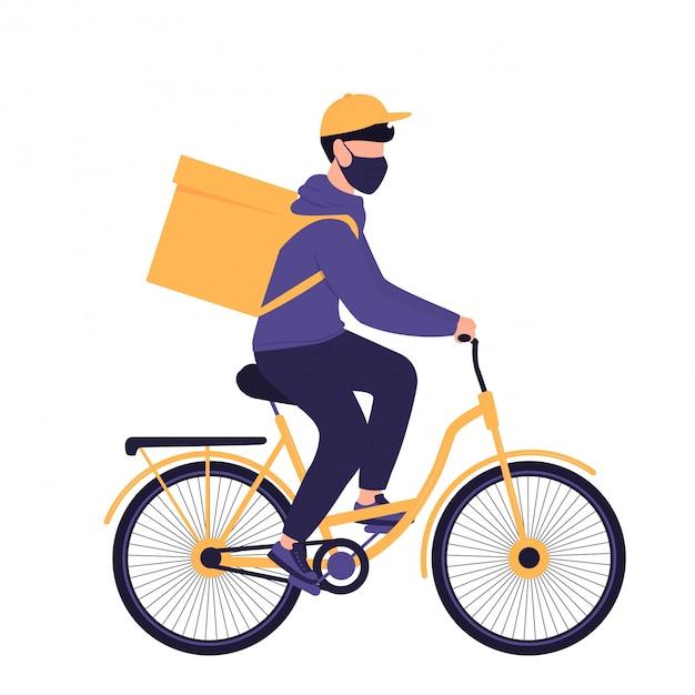 Covid-19. quarantäne. coronavirus epidemie. lieferbote in einer schutzmaske tragen lebensmittel auf einem fahrrad. kostenloser versand von lebensmitteln. Premium Vektoren