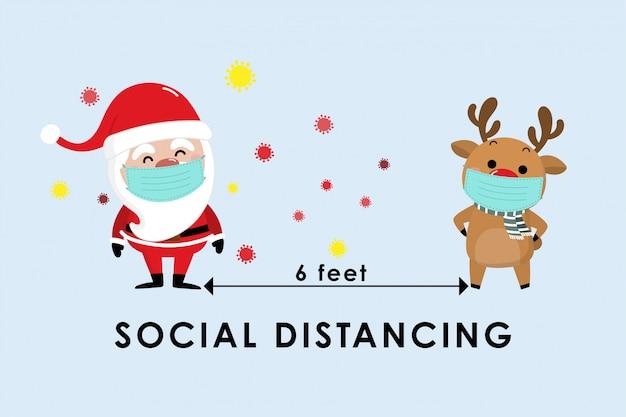 Covid-19 und soziale distanzierende infografik mit niedlichem weihnachtskarikatur Premium Vektoren