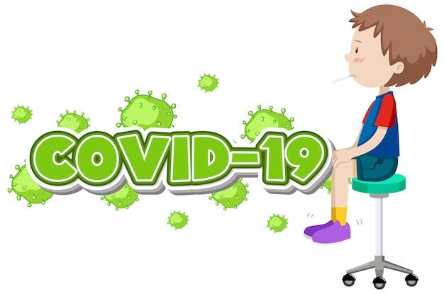 Covid-19-zeichen mit krankem jungen und hoher fieberillustration, coronavirus Kostenlosen Vektoren