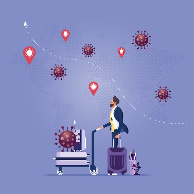 Covid-virus wirkt sich auf reisen und touristische geschäftsleute aus, deren gepäck von krankheitserregern des covid-virus umgeben ist Premium Vektoren