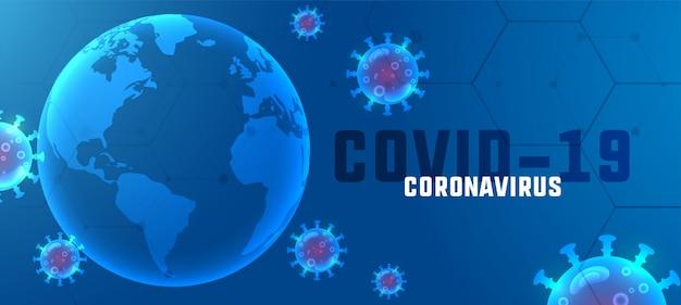 Covid19 coronavirus-ausbruch-banner mit schwebenden viren Kostenlosen Vektoren